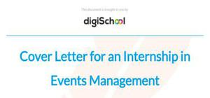 Cover letter for an internship in Events Management