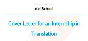 Cover letter for an internship in Translation