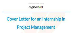 Cover letter for an internship in Project Management