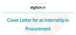 Cover letter for an Internship in Procurement