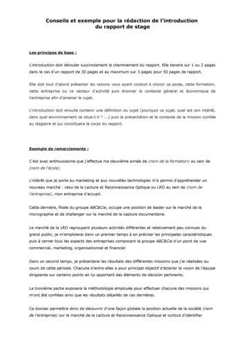 Exemple d 39 introduction de rapport de stage for Introduction rapport de stage cuisine