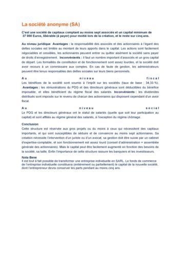 Statues juridiques/SA/SARL/EURL/EI