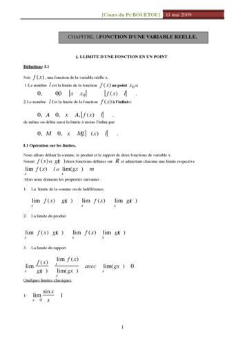 Limites, dérivées et  intégrales