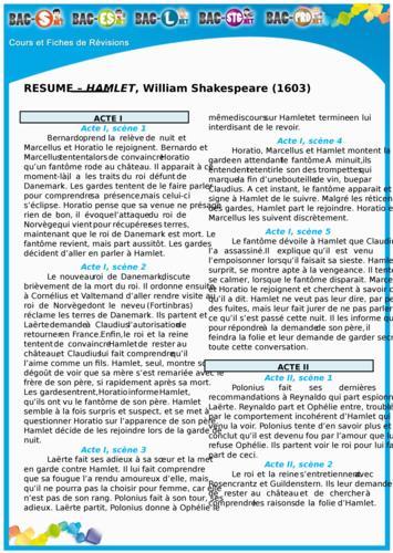 Résumé par Acte de Hamlet