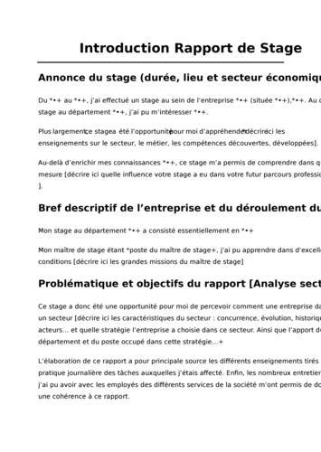 Introduction Rapport de Stage