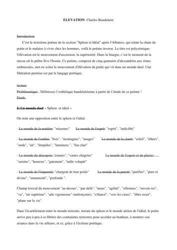 Lecture analytique : Elévation, Charles Baudelaire