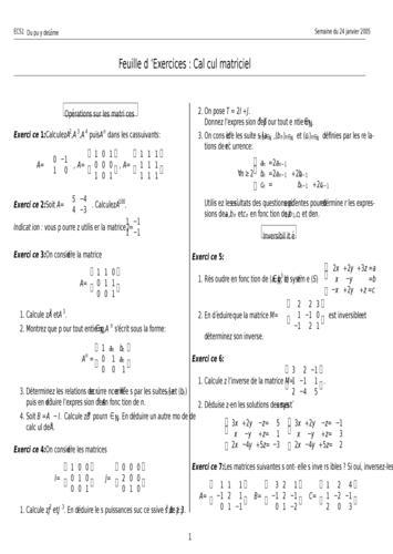 Cours de le calcul matriciel