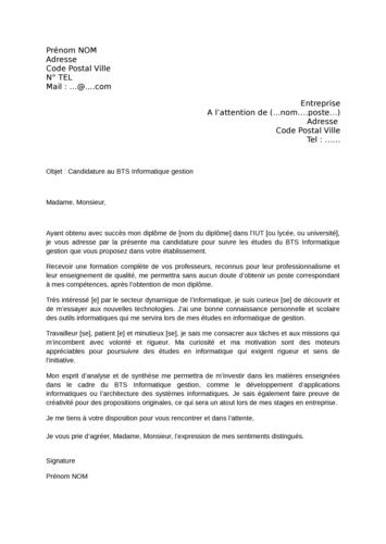 Lettre de motivation BTS Informatique de Gestion