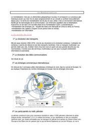 Economie : La mondialisation