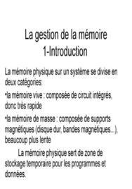 Gestion de la mémoire d'un ordinateur