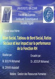 Bilan Social, Tableau de Bord Social, Ratios Sociaux et leur impact sur la performance de la Fonction RH