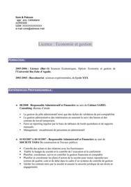 CV Licence Eco. & Gestion