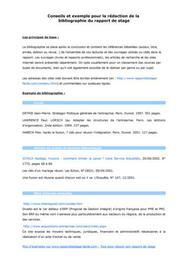 Exemple de bibliographie de rapport de stage