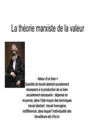 theorie marxiste de la valeur