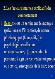 Les facteurs internes explicatifs du comportement
