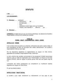 STATUTS JURIDIQUE D'UNE SARL
