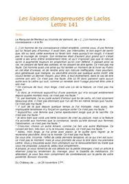 Lecture analytique de la Lettre 141 des Liaisons Dangereuses
