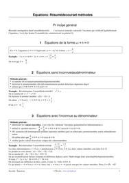 Équations : résumé de cours et méthodes