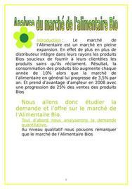 Etude du marché du bio alimentaire