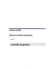 Synthese cours controle  de  gestion