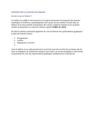 Introduction a la notion de tableur