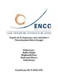Exposé sur le risque pays, une contrainte à l'investissement direct étranger