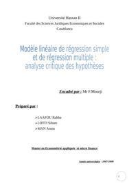 Modèle lineaire de regression simple et de regression multiple analyse critique des hypothèses
