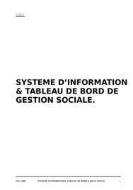 Systeme d'information & tableau de bord de gestion sociale