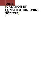 Creation et constitution d'une societe