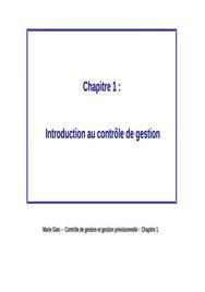 Introduction au controle de gestion