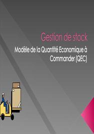Gestion de stock:modèle de la quantité economique à commander (qec)