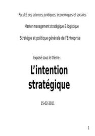 L'intention stratégique