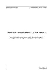 Note de synthèse sur l'office de tourisme au maroc