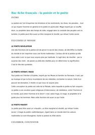 Bac fiche français : la poésie et le poète