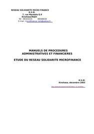 Manuel de procédures d'une imf au sein du rsm