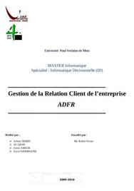 Gestion de la relation client de l'entreprise adfr gestion de la relation client de l'entreprise adfr