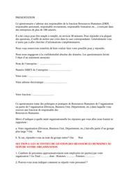 Questionnaire ressouces humaines