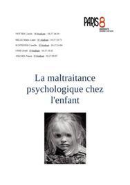 Interaction milieu et développement cognitif - la maltraitance psychologique