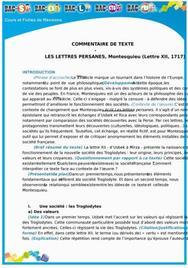 Commentaire de Texte des Lettres Persanes : Lettre 12