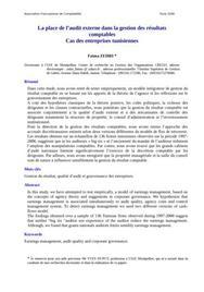 La place de l'audit externe dans la gestion des résultats comptables