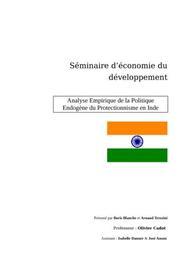Analyse empirique de la politique endogène du protectionnisme en inde