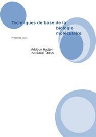 Les techniques de base de la biologie moléculaire
