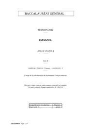 Sujet d'Espagnol LV2 Bac S 2012