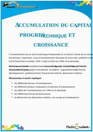 Accumulation du Capital, progrès Technique et Croissance : Cours Terminale ES