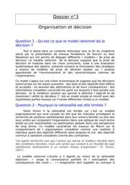 Dossier TD: Organisation et décision corrigée