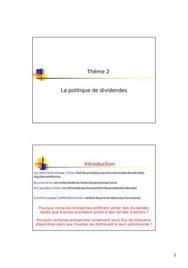 Cour finance: distribution de dividendes