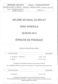 Sujet Brevet Français Washington 2013