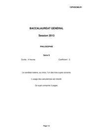 Sujets de Philosophie Bac S 2013