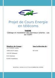 Câblage et installation des panneaux solaires : cas de l'esmt