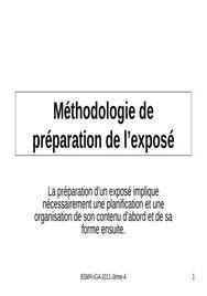 Méthodologie de préparation de l'exposé